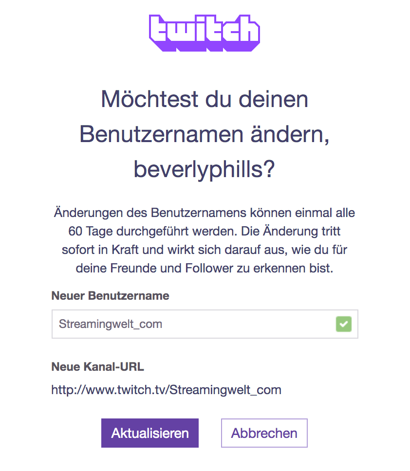 Twitch Namen ändern