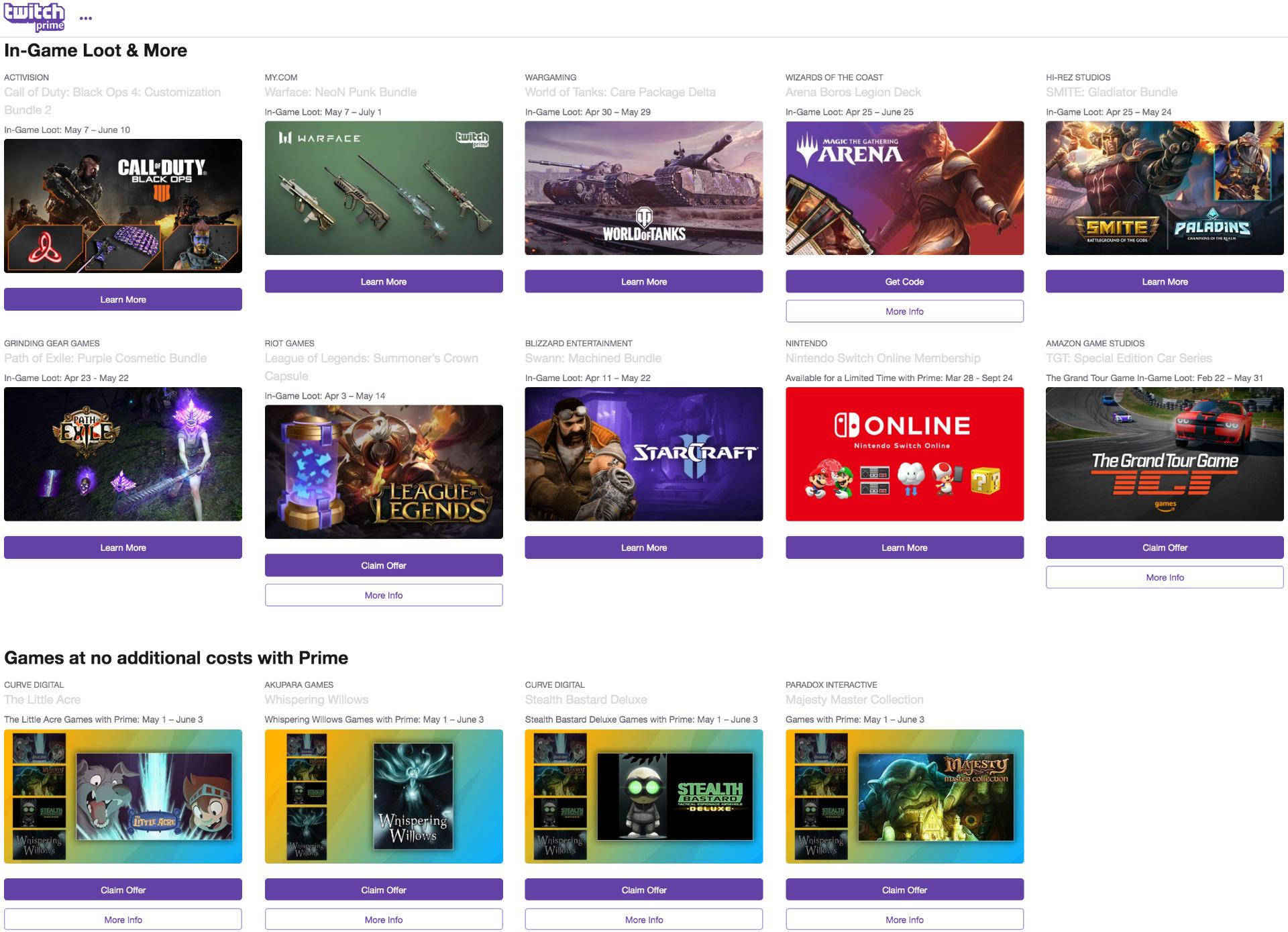 Twitch Prime In-Game Loot & kostenlose Spiele